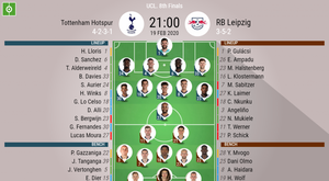 Tottenham v RB Leipzig. Cahmpions League last 16, 19/02/2020. Official-team-lineups. BESOCCER