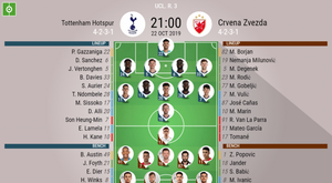 ottenham v Red Star,Champions League 2019/20, matchday 3, 22/10/2019 - official line.ups. BESOCCER