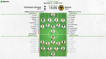 Tottenham v Wolves - Premier League - 16/05/2021 - official line-ups. BeSoccer