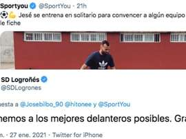 La SD Logroñés troleó a Jesé. Capturas/Twitter/SDLogrones