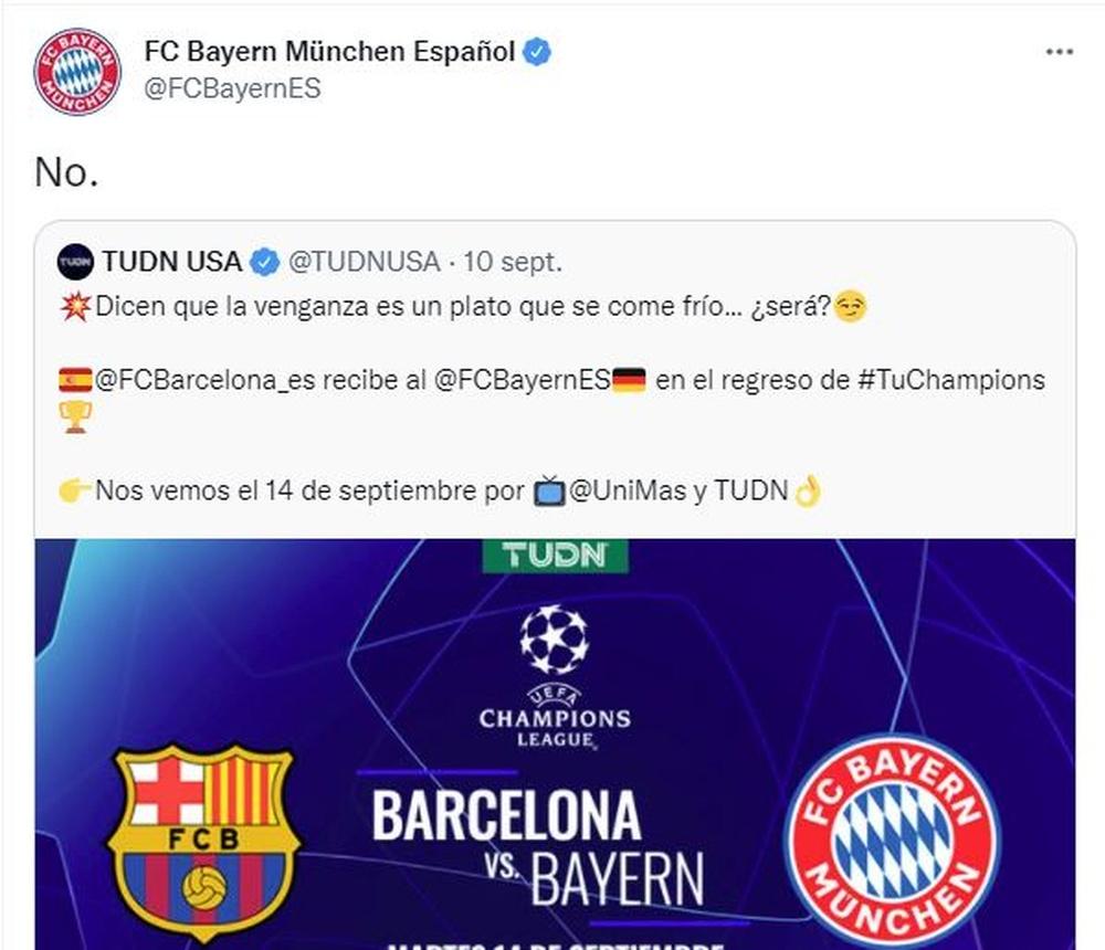 El Bayern de Múnich aprovechó las redes sociales. Twitter/FCBayernES