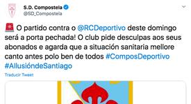 El club critica la falta de claridad de la Xunta de Galicia. Twitter/SD_Compostela