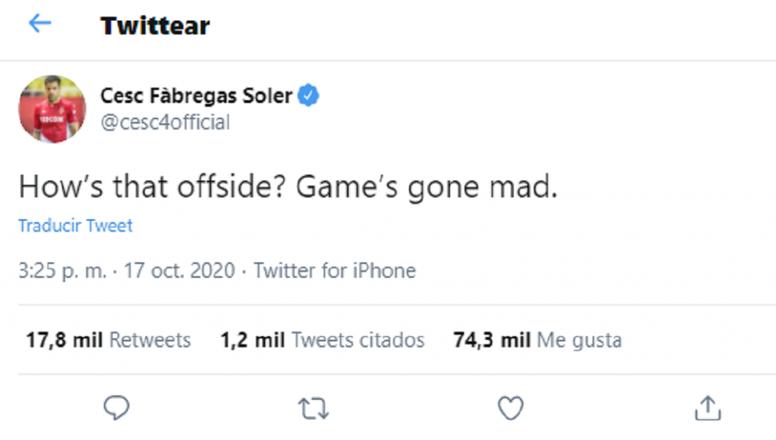 Cesc comentó el fuera de juego del derbi. Captura/Twitter/Cesc4official