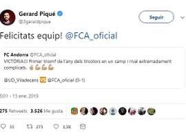 Tweet de Gerar Piqué. Twitter/3GerardPique
