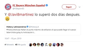 Bayern Munich made a funny comment on Twitter about Javi Martinez. FCBayernES