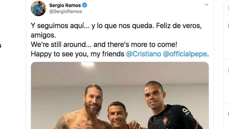 Ronaldo, Ramos and Pepe reconnect after Portugal v Spain. Captura/Twitter/SergioRamos