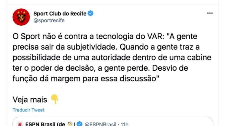 Sport Recife, contra el VAR pública y oficialmente. Captura/Twitter/sportrecife