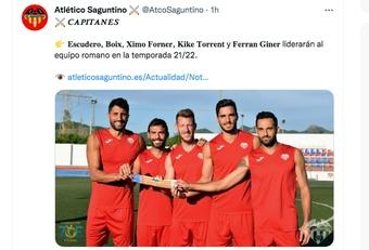 El Atlético Saguntino nombró a sus capitanes. Captura/Twitter/AtcoSaguntino