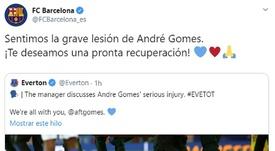 Messaggi di supporto di Barça e Valencia ad André Gomes. Captura/Twitter/FCBarcelona_es