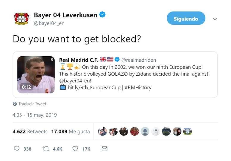 El Bayer 'amenazó' con bloquear al Madrid. Twitter