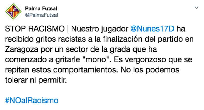 Algunos aficionados habrían llamado ''mono'' a Diego Nunes. Twitter/PalmaFutsal