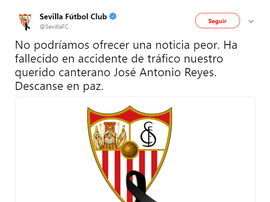 Il mondo del calcio piange la scomparsa di Reyes.Twitter/SivigliaFC