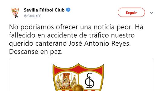 Sevilla FC were the first ones to break the tragic news. Twitter/SevillaFC
