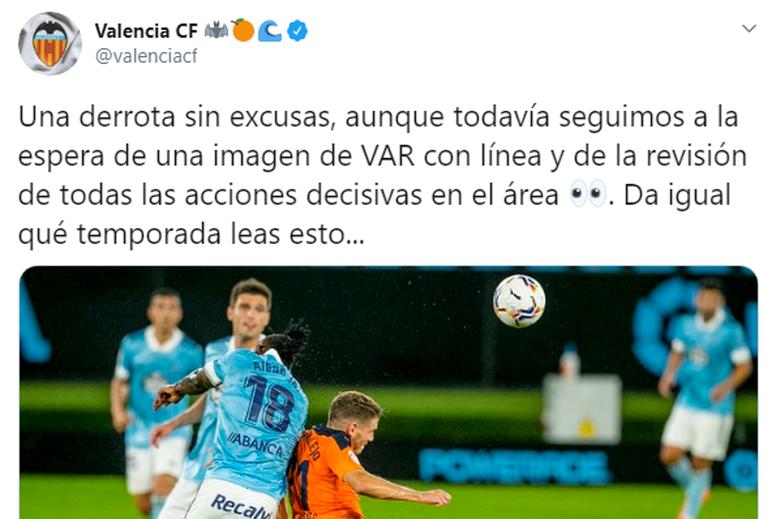 El Valencia protestó en redes contra Gil Manzano y el uso del VAR. Twitter/valenciacf