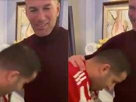O sheik do Almería recriou a cabeçada de Zidane. Twitter/Turki_alalshikh
