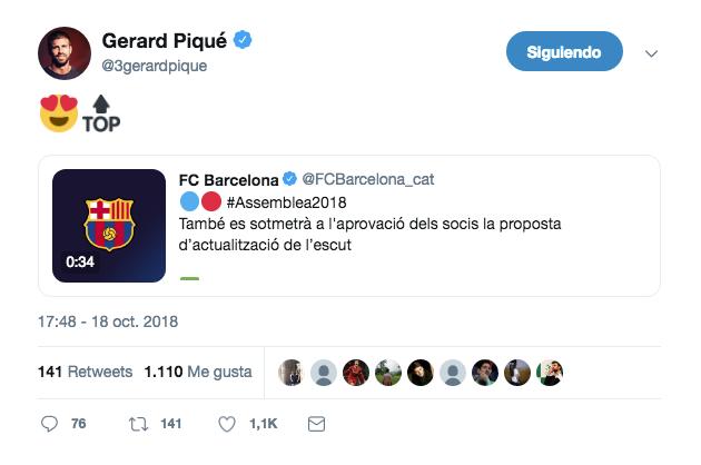 Piqué podría dar un empujón a la aprobación del escudo. Twitter/3gerardpique