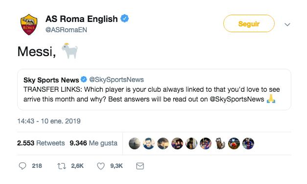 Así de recurrente fue el 'CM' de la Roma en inglés. Twitter/ASRomaEN
