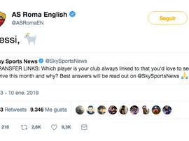 La Roma chiede l'acquisto di Messi. Twitter/ASRomaEN