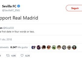 El Sevilla 'troleó' al conjunto 'merengue'. Twitter/SevillaFC_ENG
