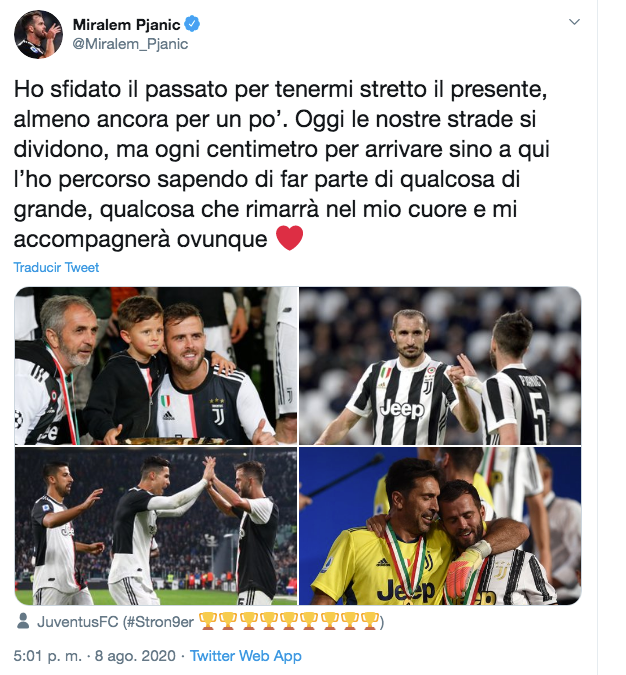 Pjanic has said goodbye to Juventus. Twitter/Miralem_Pjanic