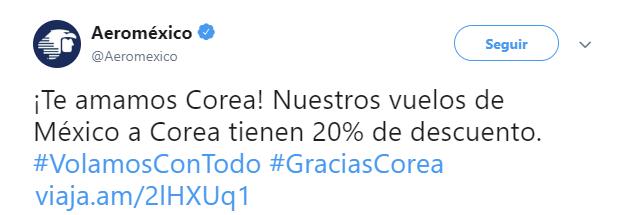 El triunfo de Corea ha sido muy celebrado en México. Twitter/aeromexico