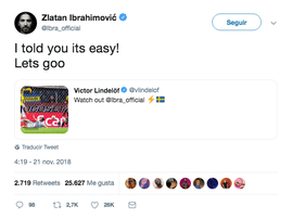 Ibrahimovic recogió el testigo de Lindelöf. Twitter