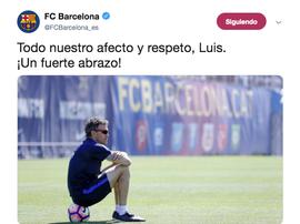Tweet du FC Barcelone apportant son soutien à Luis Enrique. Twitter/FCBarcelona_es