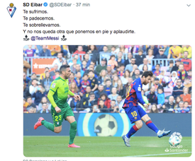 Eibar se rende ao talento de Messi. Twitter/SDEibar