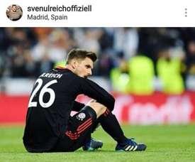 Ulreich pediu desculpas aos adeptos do Bayern, através das redes sociais.Instagram/Ulreich