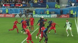 Umtiti got the run on his marker to head home. Screenshot/Twitter