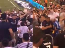 Adepto do Barcelona provoca e os do Real Madrid reagiram. Capturas/melissaOrtiz