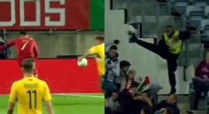Un stadier arrête un tir de Cristiano Ronaldo. Captures/MovistarLigaDeCampeones