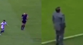 El árbitro del 'clásico' mexicano imitó a Herrera. Capturas/TelevisaDeportes