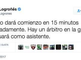 Hecho curioso en el fútbol modesto español. Twitter/UDLogroñes