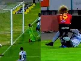 Becerra hizo el gol con un compañero en el suelo. Captura/GolTV