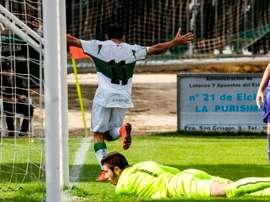 Un jugador del Elche Ilicitano celebra un tanto en un encuentro del equipo. ElcheCF