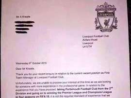 El Liverpool ha tenido la gran amabilidad de responder por carta al candidato. Twitter