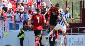 El Mirandés se lleva mínima ventaja para Huelva. Twitter/CDMirandes
