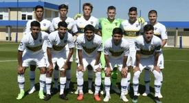 Mateo Retegui (de pie, 3i) debutó con el primer equipo el pasado fin de semana. BocaJuniors