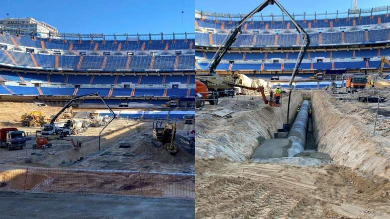 Les travaux continuent au Santiago Bernabéu. Twitter/paul_pburgess