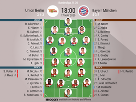 Union Berlin v B Munich, Bundesliga 2019/20, 17/05/2020, matchday 26 - Official line-ups. BESOCCER