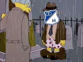 Dura derrota para los aficionados de Millonarios. Twitter/FutbolSinLimite