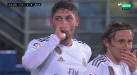 Valverde marcó el 0-4 con el clásico pase a la red de Kroos. Captura/MovistarLaLiga