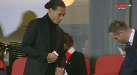 Van Dijk watches Liverpool concede. ESPN