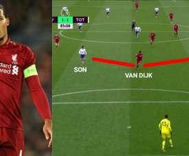 Van Dijk mostrou como se deve agira num dois contra um. AFP/DirecTVSports