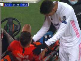 Moraes got injured. Screenshot/MovistarLigadeCampeones