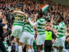 Celtic celebrate their title success. Twitter/CelticFC