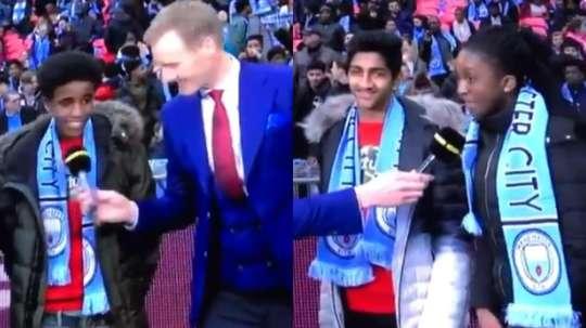 Varios niños fueron entrevistados en Wembley con las bufandas del City. Twitter/thfcethan
