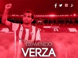 Verza selló su regreso al Almería. Twitter/UDAlmería