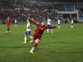 Vicky Losada celebra el primer tanto de la Selección Española a la portuguesa, en el partido clasificatorio para la Eurocopa Femenina. Twitter